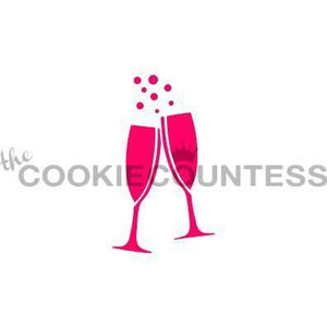 Champagne Glass Cookie Stencil | www.bakerspartyshop.com
