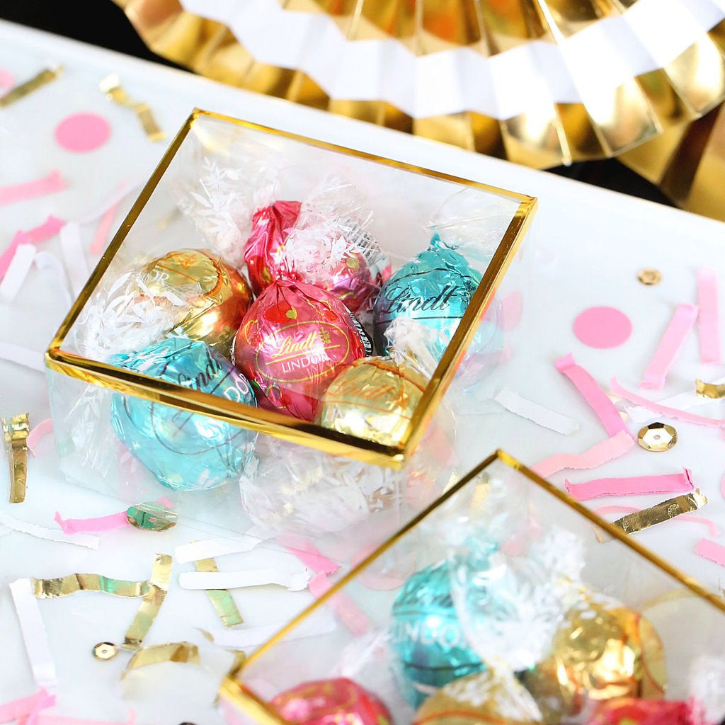 Clear Truffle Boxes with Gold Trim | www.bakerspartyshop.com
