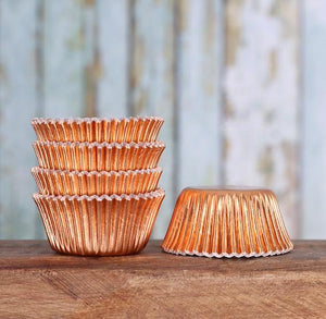 Mini Foil Copper Cupcake Liners | www.bakerspartyshop.com