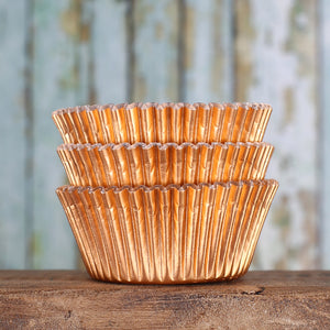 Foil Copper Cupcake Liners | www.bakerspartyshop.com