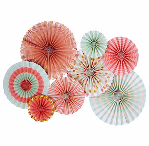 Coral and Mint Party Fans | www.bakerspartyshop.com