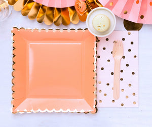 Large Coral Plates | www.bakerspartyshop.com