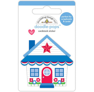 Doodle-Pops Patriotic Cottage Sticker | www.bakerspartyshop.com