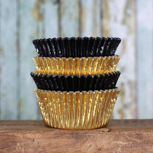 Foil Black & Gold Cupcake Liners | www.bakerspartyshop.com