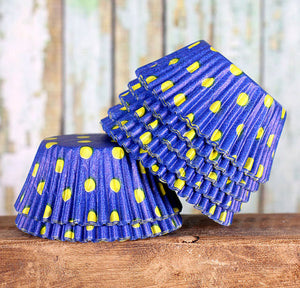 Royal Blue Cupcake Liners: Yellow Polka Dots | www.bakerspartyshop.com