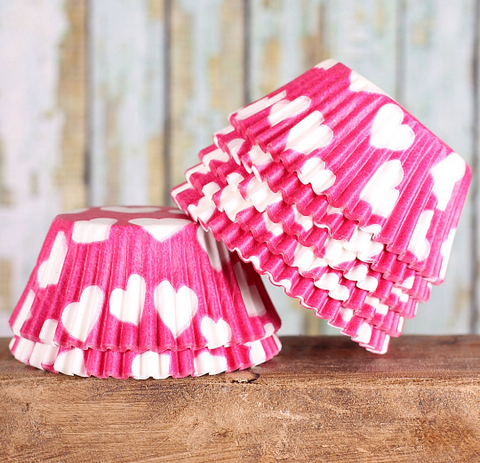 Bulk Pink Cupcake Liners: White Hearts | www.bakerspartyshop.com