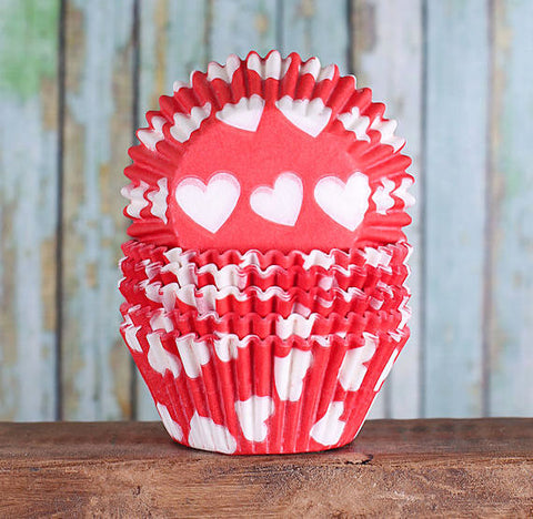 Red Heart Cupcake Liners | www.bakerspartyshop.com