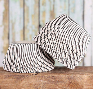 Black Cupcake Liners: Stripe | www.bakerspartyshop.com