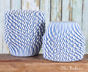 Blue Cupcake Liners: Stripe | www.bakerspartyshop.com