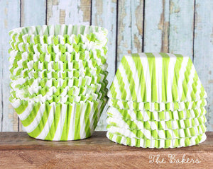 Lime Green Cupcake Liners: Stripe | www.bakerspartyshop.com