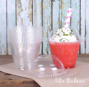 Clear Plastic Cups & Lids with Happy Rainbow Straws | www.bakerspartyshop.com