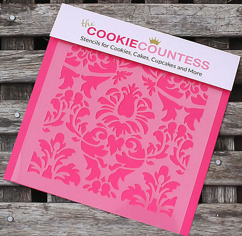 Lovely Damask Cookie Stencil | www.bakerspartyshop.com