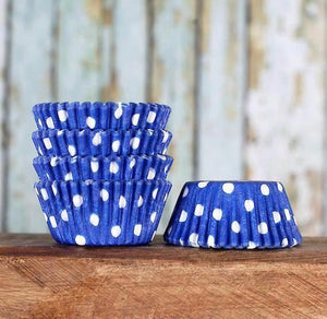 Mini Royal Blue Cupcake Liners: Polka Dot | www.bakerspartyshop.com