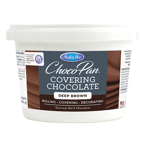 Satin Ice ChocoPan Deep Brown Covering Chocolate: 1 lb | www.bakerspartyshop.com