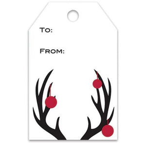 Christmas Gift Tags: Antlers +  Ornaments | www.bakerspartyshop.com