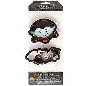 Sweet Sugarbelle Halloween Cookie Cutters: Dracula & Bat | www.bakerspartyshop.com