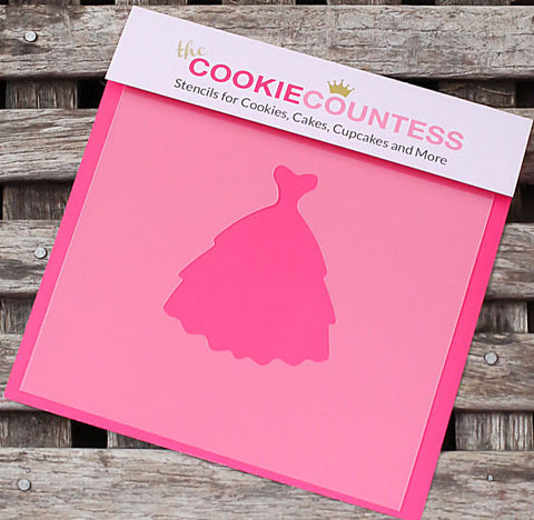 Wedding Dress Cookie Stencil | www.bakerspartyshop.com