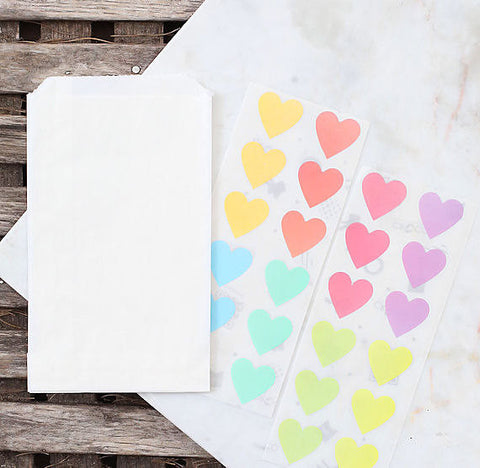 Small Pastel Rainbow Favor Bag Kit: Heart Stickers | www.bakerspartyshop.com