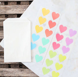 Mini Pastel Rainbow Favor Bag Kit: Heart Stickers | www.bakerspartyshop.com