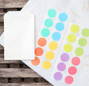 Mini Pastel Rainbow Favor Bag Kit: Round Stickers | www.bakerspartyshop.com