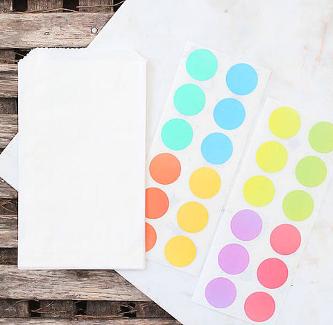 Small Pastel Rainbow Favor Bag Kit: Round Stickers | www.bakerspartyshop.com