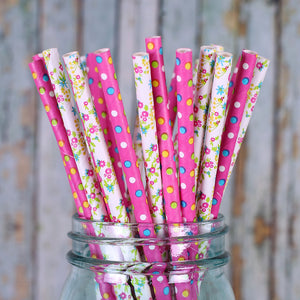 Pink Paper Straws: Floral and Polka Dot | www.bakerspartyshop.com