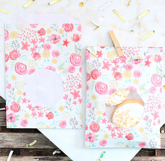 Watercolor Flower Wedding Favor Bags | www.bakerspartyshop.com