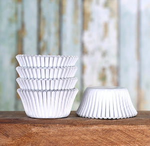 Mini Foil White Cupcake Liners | www.bakerspartyshop.com