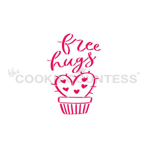 Free Hugs Cactus Cookie Stencil | www.bakerspartyshop.com