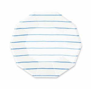 Striped Blue Plates: Large | www.bakerspartyshop.com