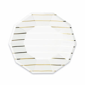 Striped Gold Plates: Large | www.bakerspartyshop.com