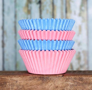 Solid Cupcake Liners: Gender Reveal | www.bakerspartyshop.com