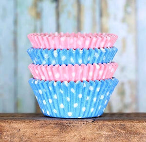 Gender Reveal Cupcake Liners: Polka Dot | www.bakerspartyshop.com
