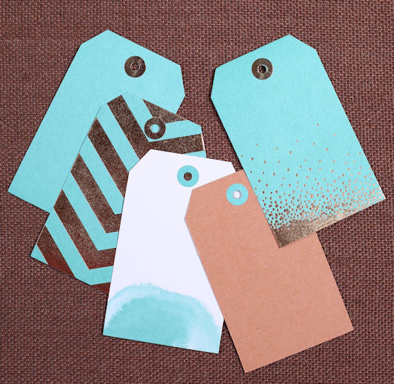 Aqua Gift Tags: Assorted Prints | www.bakerspartyshop.com