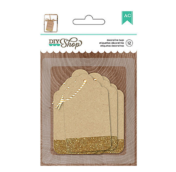 Brown Gift Tags with Gold Glitter | www.bakerspartyshop.com