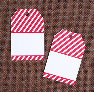 Red Stripe Gift Tags | www.bakerspartyshop.com