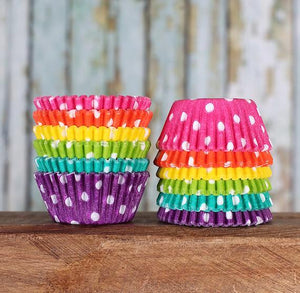 Mini Bright Rainbow Cupcake Liners: Polka Dot | www.bakerspartyshop.com