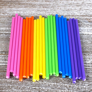 Bright Rainbow Lollipop Sticks: 6"