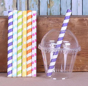 Clear Plastic Cups & Lids with Bright Rainbow Straws | www.bakerspartyshop.com