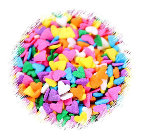 Bright Rainbow Heart Quin Sprinkles | www.bakerspartyshop.com
