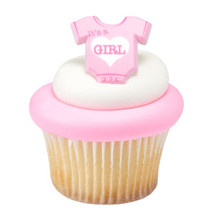 Baby Girl Cupcake Topper Rings | www.bakerspartyshop.com