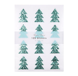 Glitter Christmas Tree Stickers by Meri Meri | www.bakerspartyshop.com