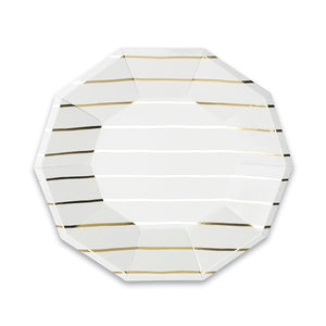 Striped Small Gold Plates | www.bakerspartyshop.com