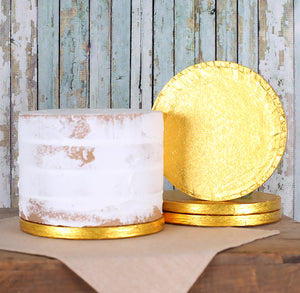 6 Inch Cake Boards: Thick Gold | www.bakerspartyshop.com
