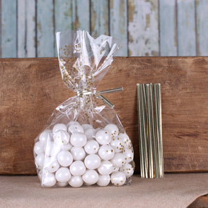 Gold Cellophane Bags & Twist Ties: Polka Dot | www.bakerspartyshop.com