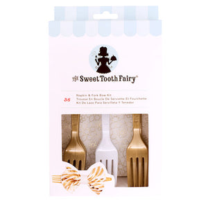 Sweet Tooth Fairy Napkin and Fork Kit: Gold | www.bakerspartyshop.com