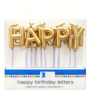 Happy Birthday Candles: Gold | www.bakerspartyshop.com