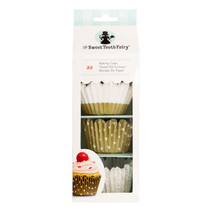 Sweet Tooth Fairy Gold Jumbo Cupcake Liners | www.bakerspartyshop.com