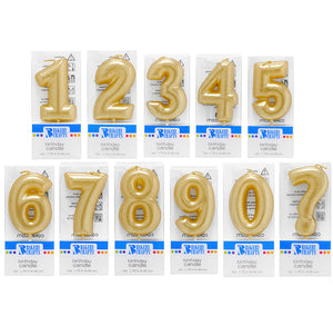 Mini Number Birthday Candles: Gold