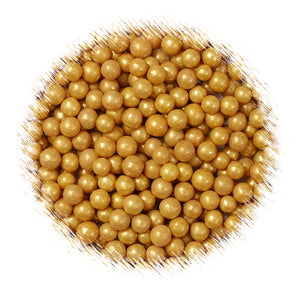 Mini Gold Sugar Pearls | www.bakerspartyshop.com